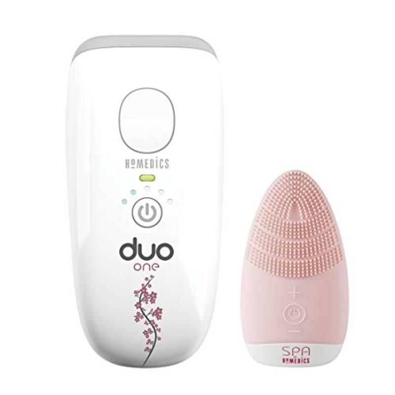 Homedics Duo One, Dispositivo epilazione a luce pulsata per rimozione peli viso e corpo, Include spazzola viso in regalo
